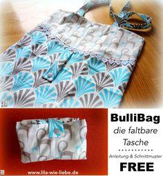 BulliBag - Freebook: eine faltbare Einkaufstasche nähen - lila wie liebe -