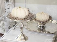 Harvest Haven Fall Tour 2016 - SheLeavesALittleSparkle  White pumpkin with Spanish grey moss in vintage silver pedestal
