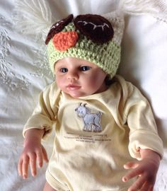 baby children hand crocheted green/cream owl hat by HoodHat on Etsy https://www.etsy.com/listing/186324675/baby-children-hand-crocheted-greencream