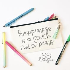 Your place to buy and sell all things handmade Pencil Bags, Pencil Pouch, Cute Gifts, Diy Gifts, Cricut Vinyl, Cricut Craft, Cricut Ideas, Cute Pens, Block Craft