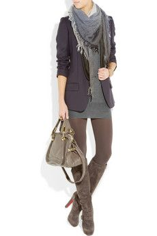 Get ready for fall with Gucci cashmere-blend mini dress, Stella McCartney blazer, Gucci scarf, Christian Louboutin boots, and a Chloe bag. Then enjoy the weight loss since you can no longer afford food.