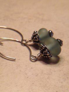 Gray Dangle Earrings Drop Earrings Steel Gray by LadonnaStudio, $27.00