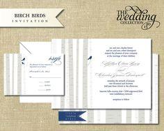 NEW 2013 - Birch Birds Invitation Sample Set. $3.00, via Etsy.