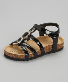 Look at this Rugged Bear Black Jewel Patent Sandal on #zulily today!