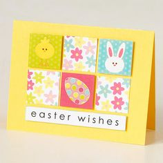 """Six squares of decorative paper make this easy Easter card pop. Use letter stickers or your computer to spell out """"Easter wishes,"""" then attach the strip of paper to the bottom of the card"""