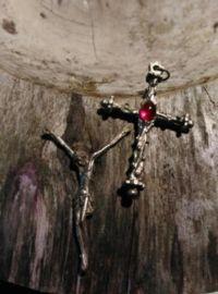Oude Antieke Religieuze Hanger Kruis Doornentakken Inri