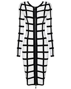 Whoinshop Women's Long Sleeves Grid Streak Club Bandage Dress with Front Zipper Split white XS
