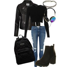 Black on Black by stylebyliyah on Polyvore featuring Topshop, Vero Moda, Frame Denim, Office, MARC BY MARC JACOBS and Frends