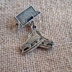 Vintage sports badge Ice Skate Retro Hockey pin Figure by MyWealth