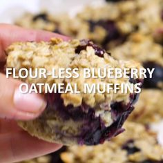 Healthy Snacks Made with clean ingredients, these Flourless Blueberry Oatmeal Muffins will fill you up and fuel your day. Click the video for the full recipe! Gluten Free Baking, Gluten Free Desserts, Gluten Free Recipes, Gourmet Recipes, Cooking Recipes, Yogurt Recipes, Cooking Ideas, Keto Recipes, Dinner Recipes
