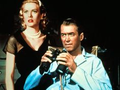 Rear Window with Grace Kelly and Jimmy Stewart directed by Alfred Hitchcock. Jimmy is laid up with a bum leg and has nothing to do, but look out the window with binoculars.  He thinks there are some very suspicious happenings across the way at Raymond Burr's place.  What do you think is going on over there?