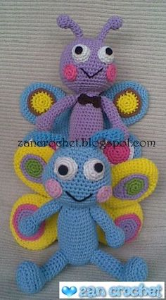 Free amigurumi pattern - I really love this amigurumi butterfly... very simple and easy.  It's about 16 cm tall.. They are so cute, aren't t...