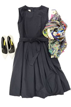 Pauw Navy Cotton Dress, Etro Dhely Scarf, Rupert Sanderson Lydia Pebble Shoe
