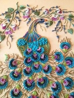 "Brazilian Dimensional Stitchery Embroidery Pattern. ""Majestic Peacock"""