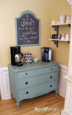 coffee bar server got a new look annie sloan chalk paint, chalk paint, chalkboard paint, home decor, home improvement, painted furniture, repurposing upcycling, Full shot of the Coffee Bar Server in it s new location and new arrangement Painted in ASCP custom blended color