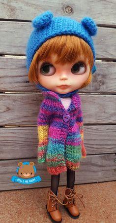 Mohair rainbow bunda svetr kabát pro Neo Blythe