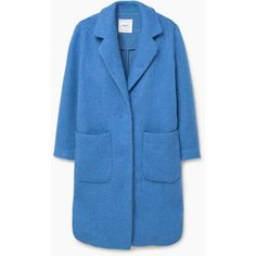 MANGO Cotton Wool-Blend Coat (£64) ❤ liked on Polyvore featuring outerwear, coats, long sleeve coat, blue coat and mango coat