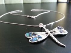 Solid silver dragon fly pendant with abalone shells and sterling chain Pau Shell
