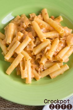 Easy crockpot chicken ziti or spaghetti recipe that is so flavorful and will easily become a favorite dinner!