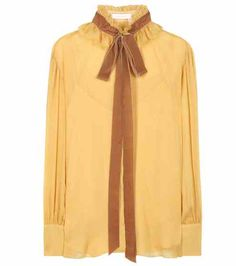Crêpe georgette blouse with velvet pussy bow | See By Chloé