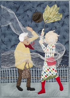 'A sudden Gust of Wind' by Pauline Coates. Best use of embellishment. Auckland Quilt Guild. 2014 Festival of Quilts.