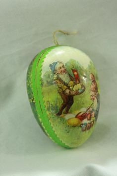 Antique German Lithograph Easter Egg Candy Container Ornament c1910