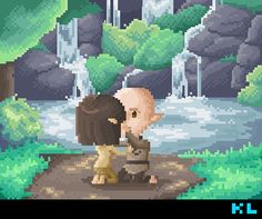 Dragon Age Inquisitor and Solas Romance Pixel Art by Kristen Tozer (maicakes)