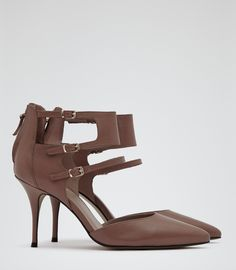 Ruby Cognac Triple Ankle Strap Court Shoes - REISS