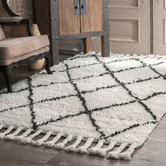Langley Street Twinar Geometric Hand-Knotted Wool Off White/Dark Gray Area Rug & Reviews | Wayfair Trellis Pattern, Rugs Usa, Cool Rugs, Grey Rugs, White Rugs, Online Home Decor Stores, Online Shopping, Shag Rug, Rug Size