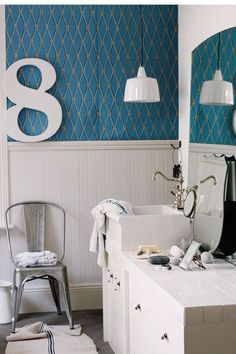 Hotel design, Best Pattaya Hotel Design With Waves Decoration In Ceiling And Floor: Pattaya Thailand hotel interior design inspired by ocean. Laundry In Bathroom, White Bathroom, Modern Bathroom, Apartment Bathroom Design, Design Bathroom, Bathroom Interior, Teal Wallpaper, Wallpaper Ideas, Moroccan Interiors