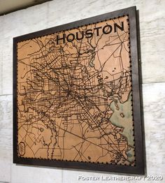 Houston Map, Scale Map, Unique Gifts, Best Gifts, Third Anniversary, Leather Craft, Hand Carved, Vintage World Maps, Carving