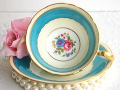 Aynsley Tea Cup and Saucer. Blue Turquoise & Pink Roses Tea Cup.Vintage 1930s Fine Bone China English Tea Set.Tea Party, Bridal Shower,Favor