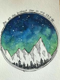 night time sky and mountains using watercolour and black fine liner. Inspired by… Nachthimmel und Berge mit Aquarell und schwarzem. Art Inspo, Kunst Inspo, Inspiration Art, Galaxy Painting, Galaxy Art, Art Galaxie, Watercolor Quote, Tattoo Watercolor, Watercolor Night Sky