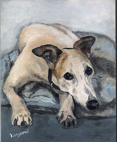 Greyhound Dog - Original Oil Painting