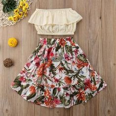 Aliana Off-Shoulder Floral Outfit Little Girl Summer Dresses, Girls Summer Outfits, Kids Outfits, Summer Clothes, Outfit Summer, Girls Dresses, Floral Skirt Outfits, Floral Skirts, Dress Outfits