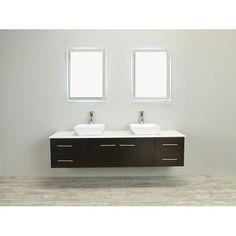Found it at Wayfair - Totti Wave Double Sink Espresso Modern Bathroom Vanity Set Open Bathroom Vanity, Cheap Bathroom Vanities, Bathroom Vanity Makeover, Double Sink Bathroom, Double Sink Vanity, Simple Bathroom, Vanity Sink, Modern Bathroom, Double Sinks