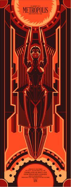 Metropolis - Silver Screen Edition by =ron-guyatt on deviantART Metropolis Poster, Metropolis 1927, Metropolis Robot, Art Nouveau, Fritz Lang, Fiction Movies, Science Fiction, Kunst Poster, Vintage Graphic Design