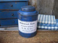1890s Antique Tea Tin Shaker Milkweed Label Cupboard Blue Paint | eBay