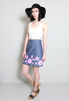 Vintage 1960's Blue Denim Look Floral Applique A-Line Skirt