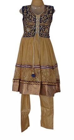 Beige and Blue Colour Kids/ Girls Punjabi Suit, Vasundhara Fashions Indian Clothing