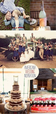 Love the vintage all-American wedding theme. I WILL have glass Cokes at my wedding!