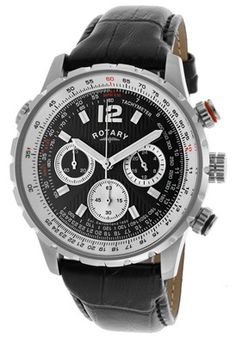 4a759501c Rotary GS00120-04 Watches,Men's Chronograph Black Dial Black Genuine  Leather, Men's Rotary