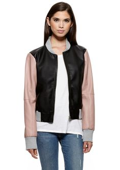 BOY MEETS GIRL Zip-Front Jacket with Contrast Sleeves $29.99
