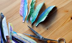 Watercolor paper feathers