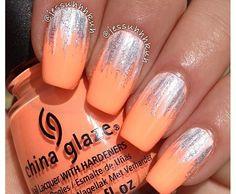 Peach with white and silver waterfall mani Cute Nail Art, Cute Nails, Pretty Nails, Manicure At Home, Nail Manicure, Shellac, Finger, Nail Polish Art, Fabulous Nails