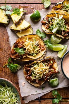Weeknight style Slow Cooker Braised Hawaiian Pineapple Chicken Tacos…with spicy Yum Yum Sauce and crunchy slaw. Because loaded tacos are just better! Pulled Chicken Tacos, Shredded Chicken, Chicken Dips, Slow Cooker Recipes, Cooking Recipes, Pork Recipes, Cooking Tips, Cooking Chef, Budget Recipes