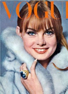 Jean Shrimpton in a pastel coat on the cover of Vogue.