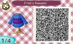 Frisk from Undertale QR code for Animal Crossing New Leaf.