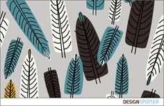 Beautiful Feather Textile Design with White, Grey and Blue Colors. Mo Textile Design / DESIGNSPOTTER.COM