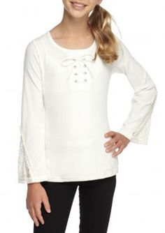 SEQUIN HEARTS girls Ivory Lace Up Crochet Sleeve Top Girls 7-16